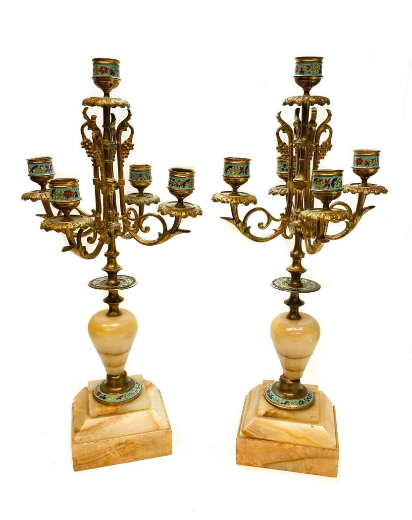 Pair French Champleve  5-Light Candelabra