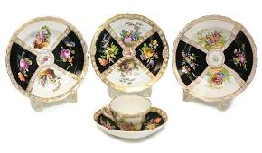 Dresden & Meissen Soup Bowls & Cup & Saucer. Quatrefoil