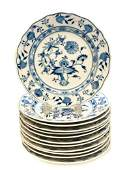 12 Meissen Dinner Plates in Blue Onion, 19th C