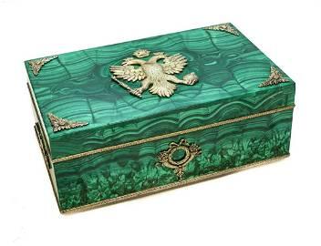 88 Russian Gilt Silver & Malachite Cigar Box, Double