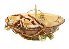 Italian 18k Gold Agate Enamel & Pearl Basket by Trizio