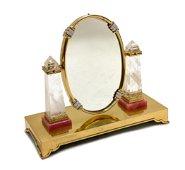 Gilt Sterling Silver Diamond Vanity Mirror by Moba
