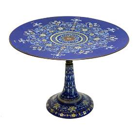 French Champleve Enamel Tazza Cake Stand