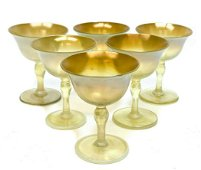 6 LCT Tiffany Favrile Iridescent Wine Goblets