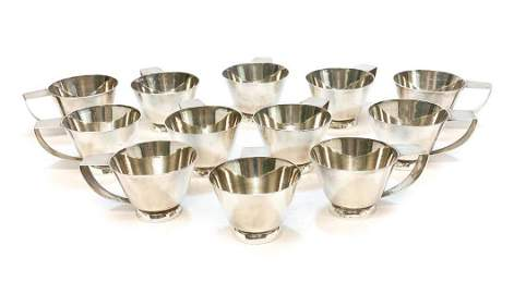 12 Allan Adler Sterling Silver Modernist Cups