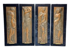 4 Barbedienne Bronze Plaques of Water Nymphs, c1900