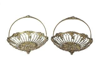 Pair Howard & Co Gilt Sterling Silver Swing Baskets