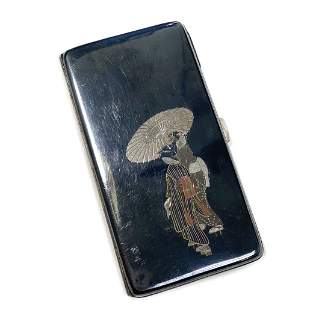 Japanese Silver Mixed Metal Inlay Cigarette Case, c1920