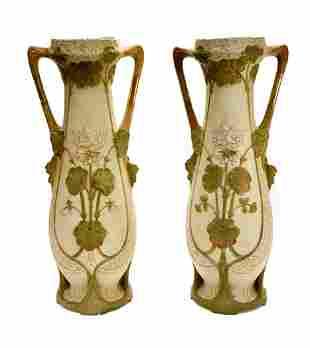 Large Pair Royal Dux Czechoslovakia Porcelain Twin