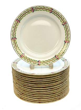16 Minton England Porcelain Hand Painted Dinner Plates