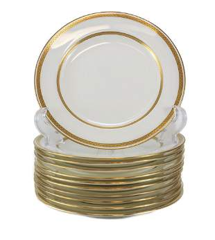 11 Minton Tiffany Porcelain Salad Plates, Gold Band