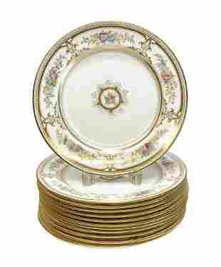 12 Wedgwood Hand Painted Dinner Plates, circa 1900