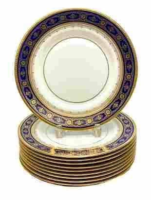 10 Minton Porcelain Dinner Plates, circa 1930