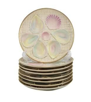 8 Blush Porcelain Oyster Plates by Royal Worcester