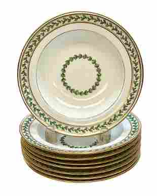 8 Minton for Tiffany Porcelain Rimmed Soup Bowls