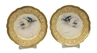 Pair Limoges Avenir Tiffany Porcelain Cabinet Plates