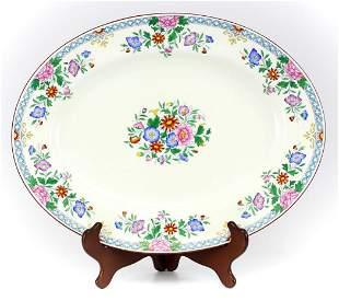 Wedgwood Porcelain Large Platter, Floral Raised Enamel