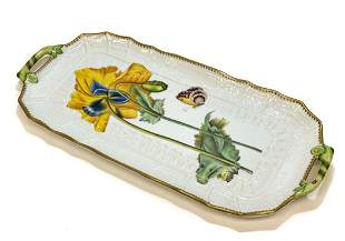 Anna Weatherley Hungary Porcelain Tray Yellow Flowers