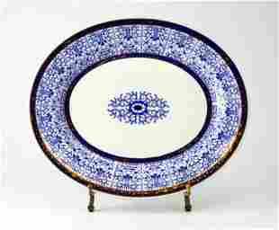 Royal Worcester Lily Serving Platter; Gilt Blue & White