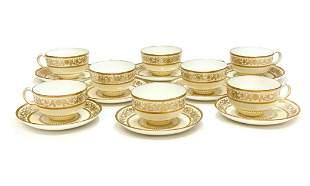 8 Minton England Porcelain Large Breakfast Cup Saucers