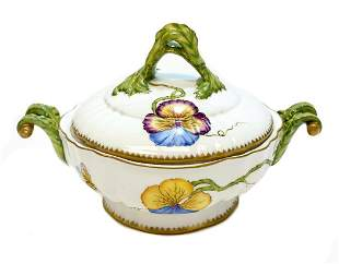 Anna Weatherley Hungary Porcelain Covered Bowl, Pansies