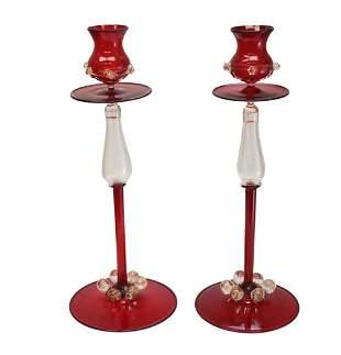 Pair Venetian Cranberry Red Art Glass Candle Sticks