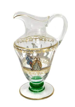 Venetian Art Glass Hand Painted Enamel Pitcher