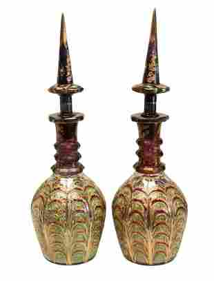 Pair Large Bohemian Cranberry Glass & Enamel Decanters