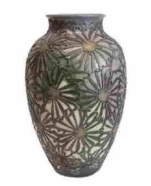 Ceramic Art Nouveau Floral Vase with Pewter Overlay