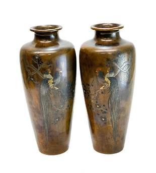 Pair Japanese Meiji Bronze Mixed Metal Inlay Vases