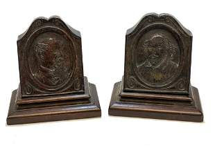 English Wood Bookends of William Shakespeare, c1900