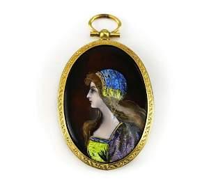 Miniature Hand Painted Enamel Portrait Gilt Frame