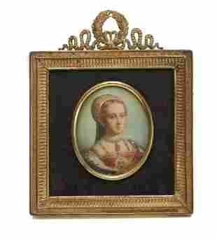Continental Hand Painted Miniature Portrait,  Beauty