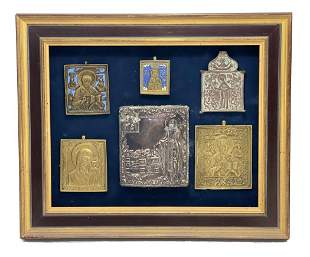 Group of 6  Saints  Icon Plaques Gilt Metal