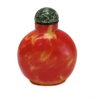 Chinese Red & Yellow Snuff Bottle. Jasper Stopper