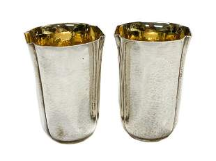 Buccellati Sterling Silver Hand Hammered Tumbler Cups