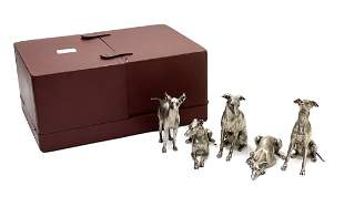 Group of Silver Dog Figurines Bry & Cie