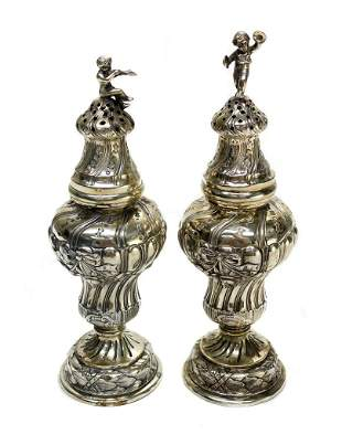 Pair German 800 Silver Sugar Caster or Salt and Pepper