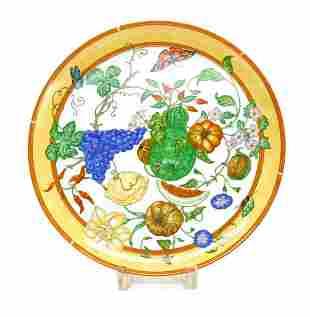 Hermes Porcelain Large Round Tart Platter in La Siesta