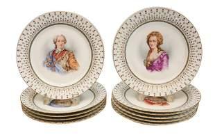 10 Manufacture De Sevres Porcelain Cabinet Plates, 1846