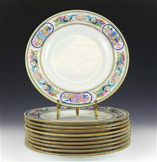 10 Minton China Luncheon Plates, Enamel Fruits