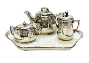 Bavaria Porcelain & Silver Overlay Tea Set and Tray