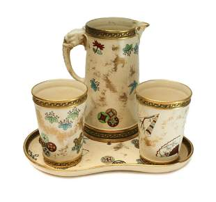 Royal Worcester Aesthetic Pitcher & Tumblers, 1875