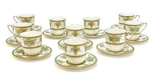 10 Royal Worcester Porcelain Cup & Saucers, 1925