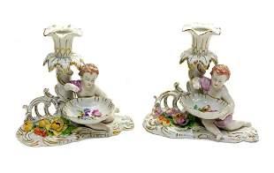 Dresden Porcelain Figural Cherub Candlesticks