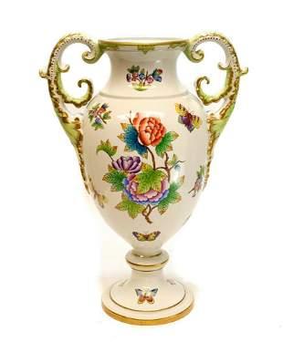 Herend Porcelain Twin Handled Urn in Queen Victoria