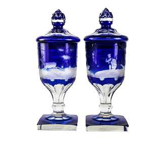 Pair Bohemia Two Layered Blue Cut Glass Lidded Urns