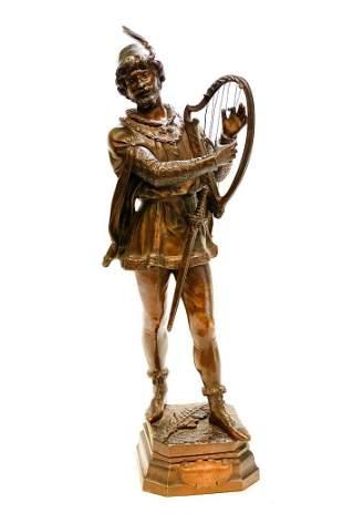 Marcel Debut Patinated Bronze Figure Sculpture