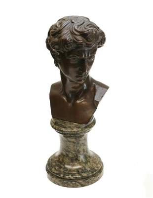 Italian Bronze David Bust Sculpture Spotted Stone Base