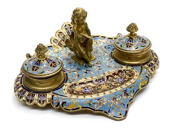French Champleve Enamel Twin Inkwell Stand
